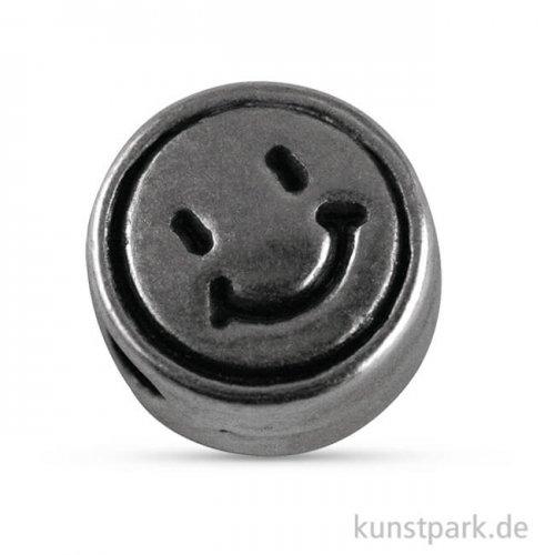Metallperle Silber 7 mm, Lochgröße 2 mm - Smiley