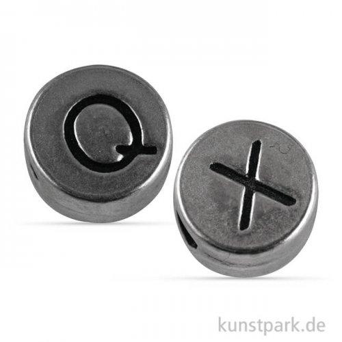Metallperlen-Mix Silber Q und X, 7 mm