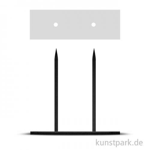 Metallsockel schwarz mit 2 Steckspitzen, 10 x 20 cm, Höhe 20 cm