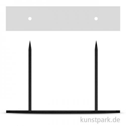 Metallsockel schwarz mit 2 Steckspitzen, 10 x 30 cm, Höhe 20 cm