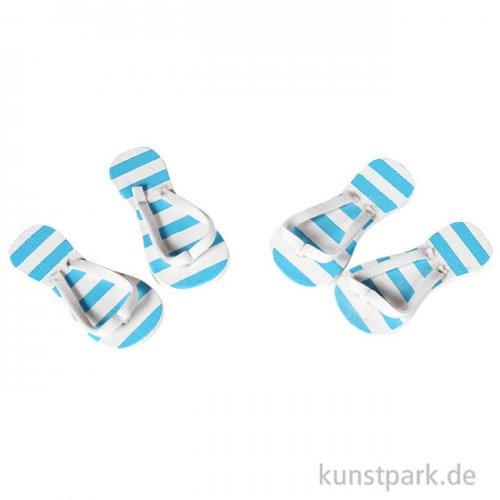 Mini Flip-Flops - blau gestreift, 3 cm, 2 Paar
