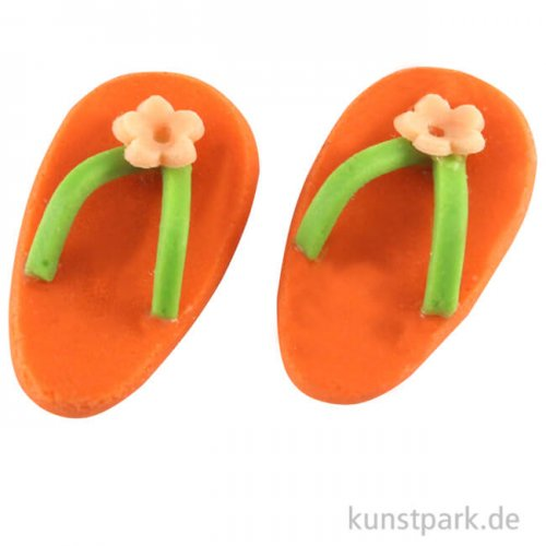 Mini Flip-Flops Orange, 1,8 x 1 cm