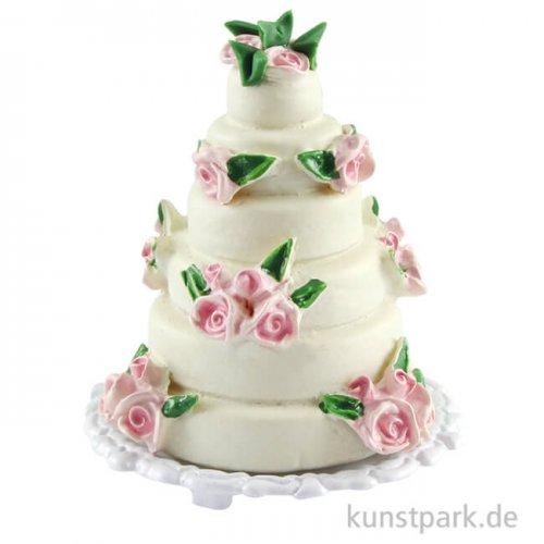 Mini Hochzeitstorte mit Rosendekoration, 4 x 3,5 cm