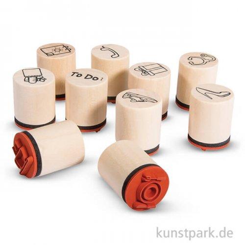 Mini Holzstempel-Set - Plan, 2 cm, 10 Stück sortiert