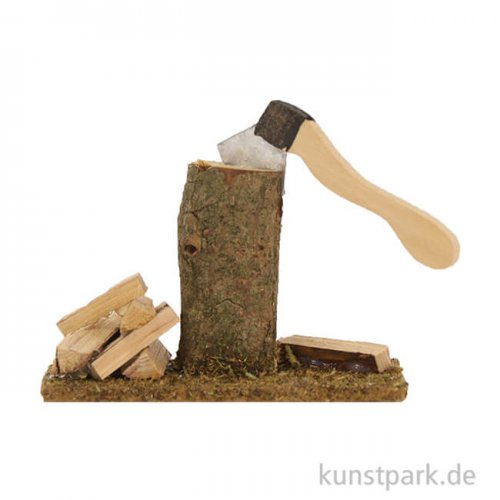 Mini-Holzstock mit Axt 6 cm