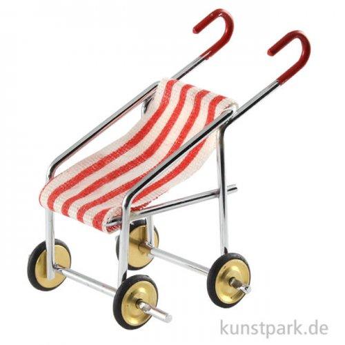 Mini Kinderwagen Rot-Weiß, 5 cm