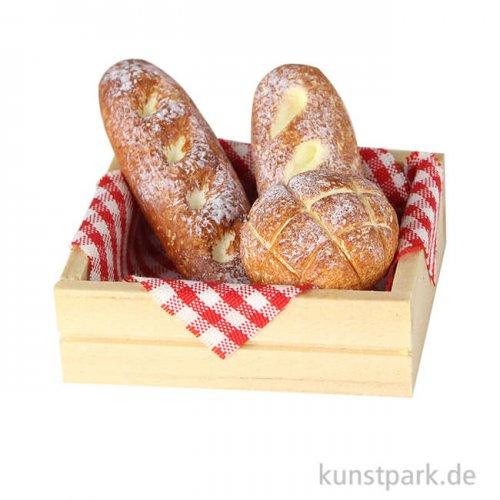 Mini Kiste mit drei Broten, 4 x 3 x 2 cm