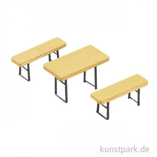 Mini Picknicktisch, 6x3,5x3 cm, 3-teilig
