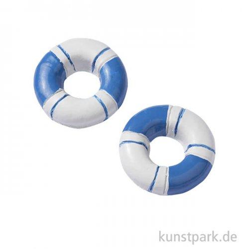 Mini Rettungsringe - Blau-Weiß, 2,3 cm, 4 Stück
