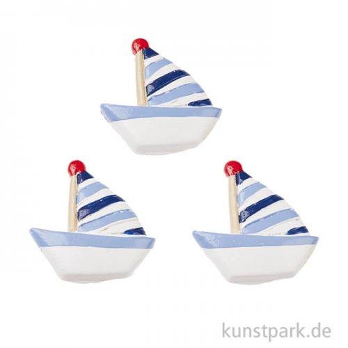 Mini Segelschiff - gestreift, 2,5 cm, 3 Stück