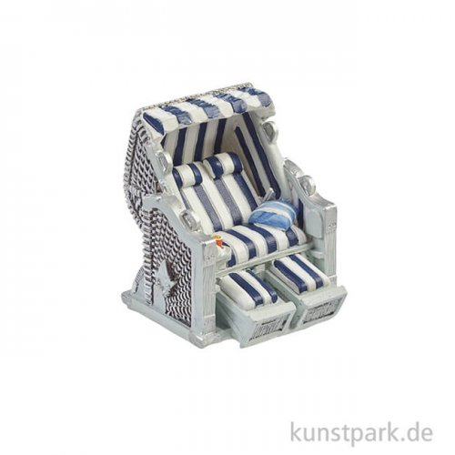 Mini Strandkorb - Blau-Weiß, 6,5x6,5x5 cm