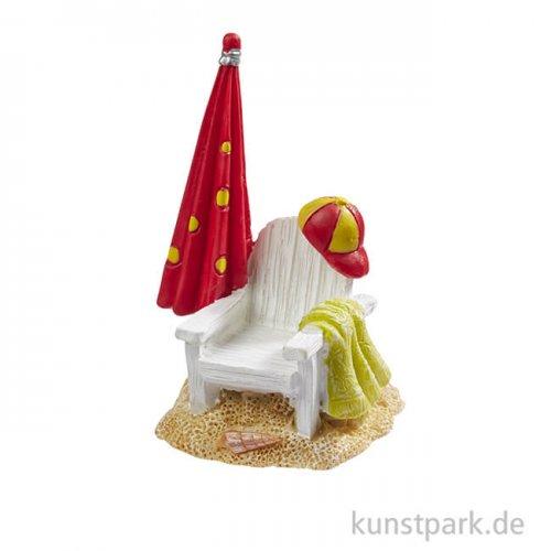 Mini Strandstuhl mit Schirm, 3,7x6,5 cm