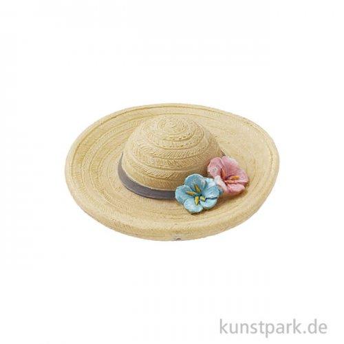 Mini Strohhut mit Blüten, 4,5 cm