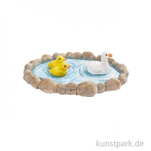 Mini Teich mit Enten, 7 cm