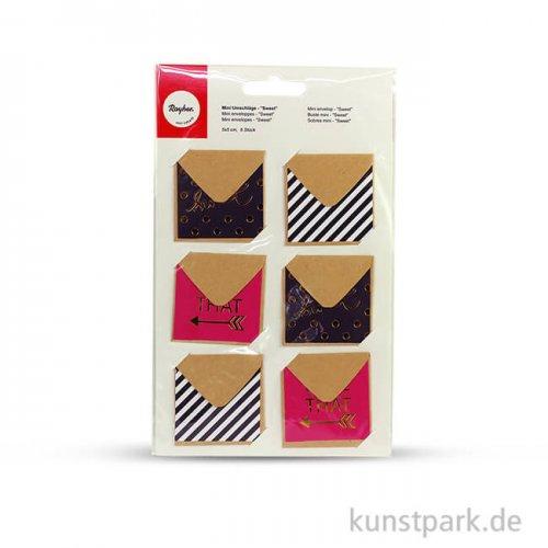 Mini-Umschläge - Sweet, 5x5 cm, 6 Stück sortiert