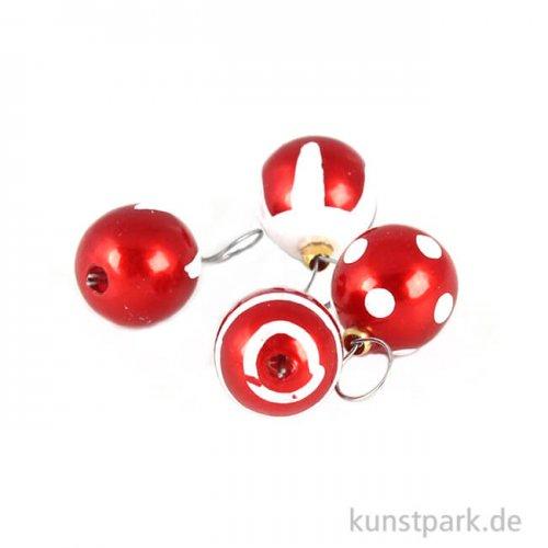 Mini Weihnachtskugeln Rot, 4 Stück, 8 mm