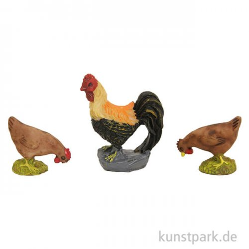 Miniatur Hahn mit Hühner, 3,5 cm, 3 Stück sortiert