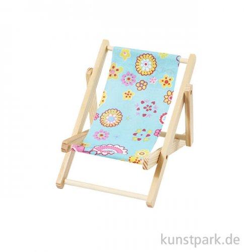 Miniatur-Liegestuhl Strandparty - Blau, 15 cm