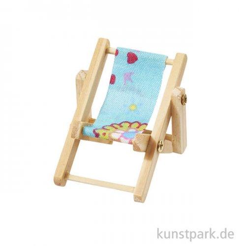 Miniatur-Liegestuhl Strandparty - Blau, 5x3,5 cm