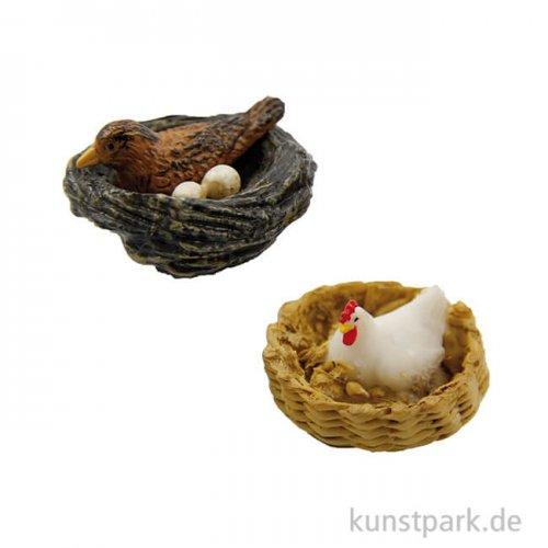 Miniatur Nester, 3,6 cm, 2 Stück sortiert