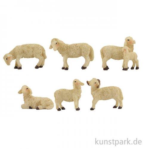 Miniatur Schafe, 4,1 cm, 6 Stück sortiert