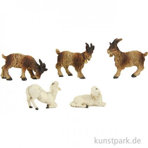 Miniatur Schafe und Ziegen, 4,8 cm, 5 Stück sortiert