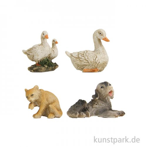 Miniatur Tiere, 3,3 cm, 4 Stück sortiert