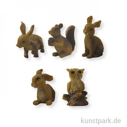 Miniatur Waldtiere, 2,2 cm, 5 Stück sortiert