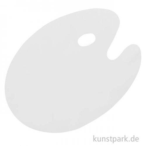 Kunststoffpalette oval weiß, Farbe ablösbar 30 x 40 cm
