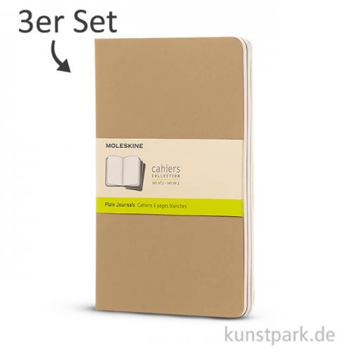 MOLESKINE Cahier Journal 3-er Set - Kraftpapier Blanko, A4, 120 Seiten