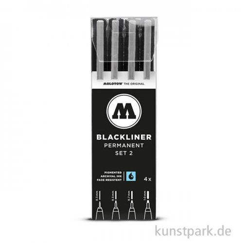 Molotow BLACKLINER Set 2 mit 4 Finelinern
