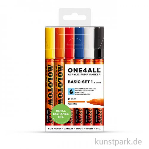 Molotow ONE4ALL Marker - HS127 Basic-Set 1 6er