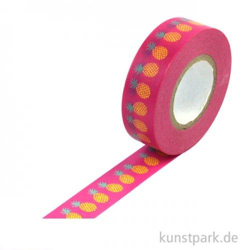 Motiv-Klebeband Washi Tape - Ananas, 15 mm, Rolle 15m