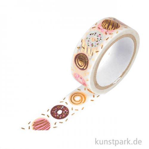 Motiv-Klebeband Washi-Tape Hotfoil Gold Donuts, 15 mm, 5 m Rolle