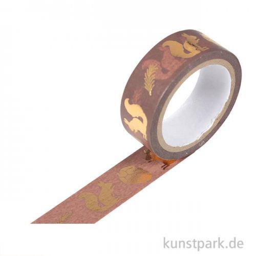 Motiv-Klebeband Washi-Tape Hotfoil Gold Eichhörnchen, 15 mm, 5 m Rolle