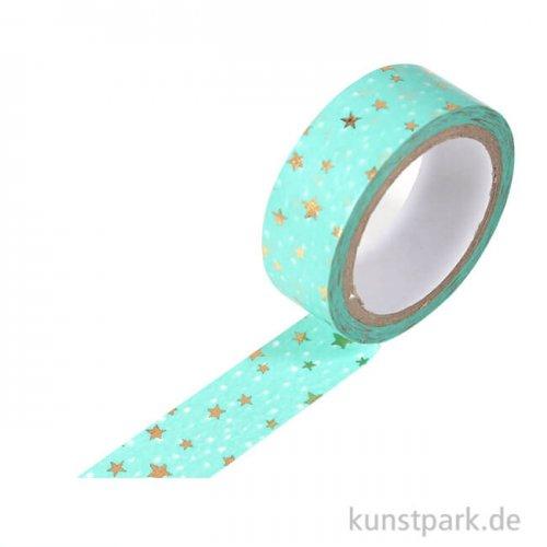 Motiv-Klebeband Washi-Tape Hotfoil Gold Sterne, 15 mm, 5 m Rolle