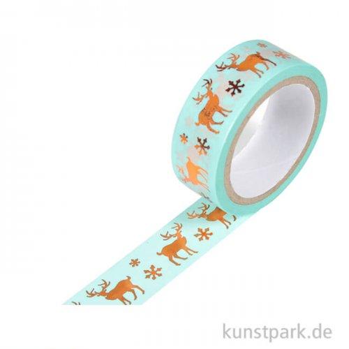Motiv-Klebeband Washi-Tape Hotfoil Kupfer Hirsche, 15 mm, 5 m Rolle