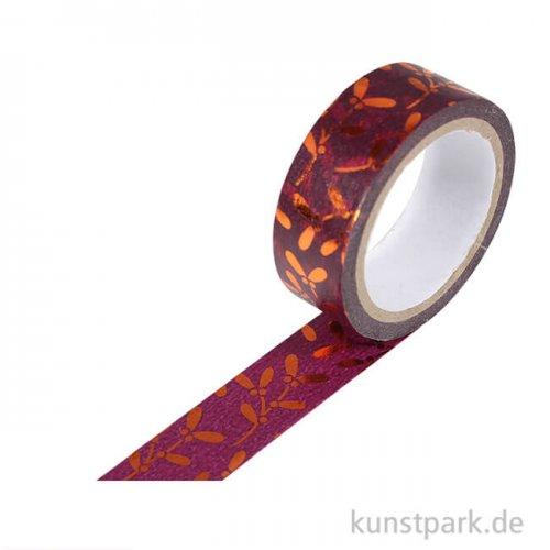 Motiv-Klebeband Washi-Tape Hotfoil Kupfer Mistelzweig, 15 mm, 5 m Rolle