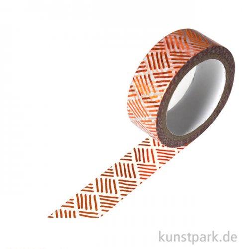 Motiv-Klebeband Washi-Tape Hotfoil Kupfer Schraffur, 15 mm, 5 m Rolle