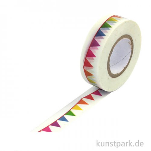 Motiv-Klebeband Washi Tape - Party Wimpel, 15 mm, Rolle 15m