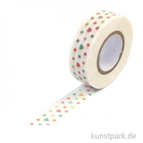 Motiv-Klebeband Washi Tape - Punkte und Herzchen, 15 mm, Rolle 15m