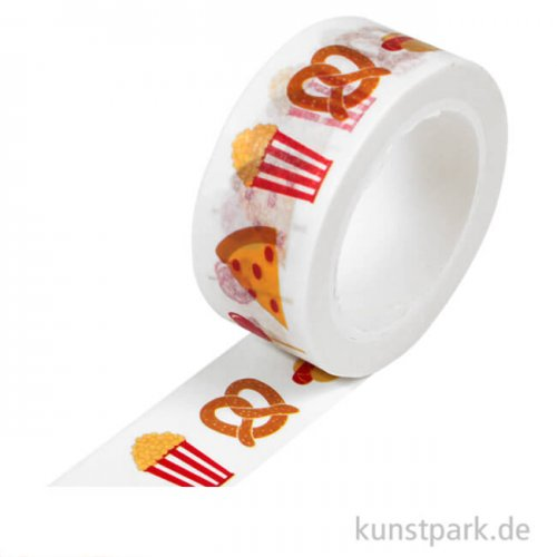 Motiv-Klebeband Washi-Tape - Yummy Snacks, 15 mm, 10 m Rolle