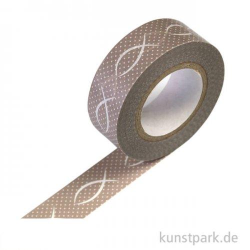 Motiv-Klebeband Washitape - Fisch taupe, 15 mm, 10 m Rolle