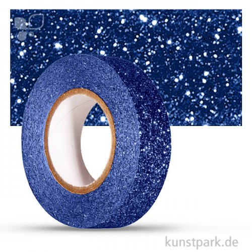 Motiv-Klebeband Washitape - Glitter - 15 mm 5 m Rolle | Royalblau