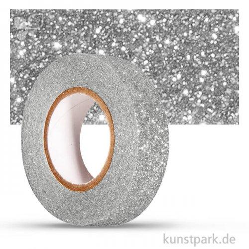 Motiv-Klebeband Washitape - Glitter - 15 mm 5 m Rolle | Silber