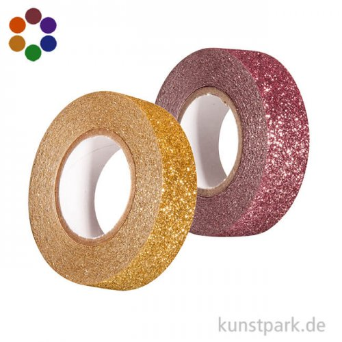 Motiv-Klebeband Washitape - Glitter - 15 mm - 5 m Rolle