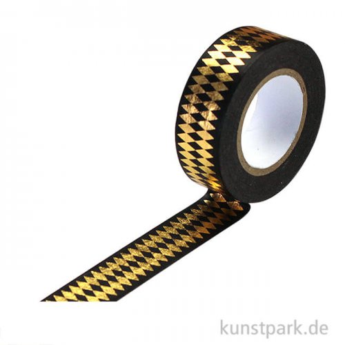 Motiv-Klebeband Washitape - Rauten gold, 15 mm, 10 m Rolle