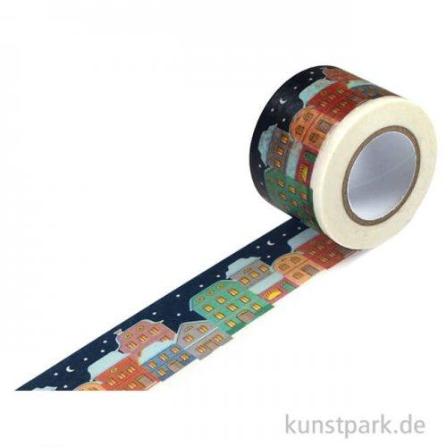 Motiv-Klebeband Washitape - Winterdorf, 30 mm, 10 m Rolle