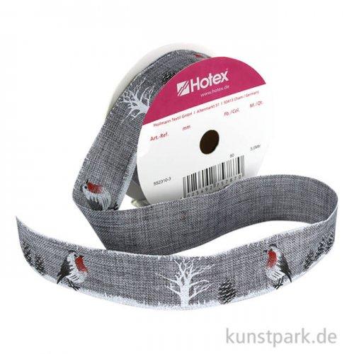 Motivband Vögel und Tannenzapfen - 25 mm x 3 m Grau
