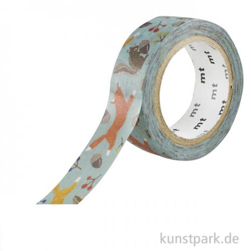 MT Masking Tape, Embroidery Fox and Squirrel, 15 mm, 7 m Rolle